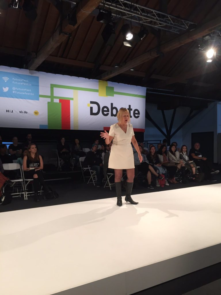 Cindy Gallop on the Debate stage at FutureFest 2016
